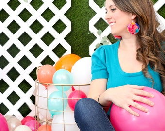 Pom Pom Earrings - Multi Color Yarn Pom Pom Earrings with Gold Ear Hooks - Passion Fruit