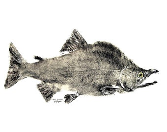 GYOTAKU fish Rubbing Salmon 8.5 X 11 quality Art Print Cottage Decor Fly Fishing by artist Barry Singer