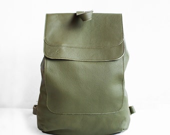 Leather Backpack in Military Green / Leather Backpack / Leather Bag / Green Leather Bag / Big Backpack / Green Backpack /
