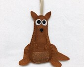 Kangaroo Ornament, Christmas Ornament, Krista the Kangaroo - Made to Order, Felt Animal, Roo