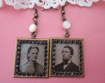 Antique Tintype Earrings with Black Rhinestones GemTintype Earrings