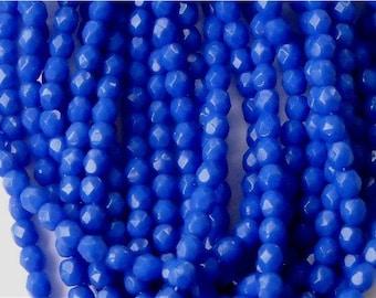 New Color 100 Czech Fire polishd Glass Beads Rich ROYAL BLUE 4mm