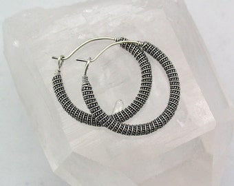 Sterling Silver Wire Wrapped Earrings, Silver Hoops, Hoop Earrings, Antiqued Silver, Bali Silver, Wire Wrapped Jewelry, Handmade