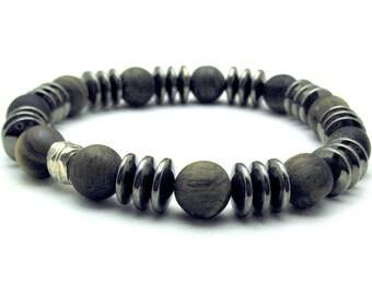 Matte Honey Tiger Eye and Hematite Unisex Beaded Bracelet, Modern, by cooljewelrydesign, Unisex Under 125