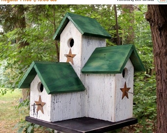 Snow Storm Sale Primitive Country  Condo Birdhouse White and Green Three Nesting Boxes