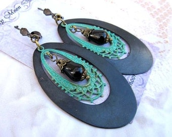 Big hoop earrings turquoise black patina bohemian earrings boho jewelry