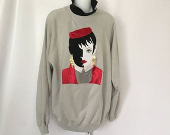 Appliqué Sweatshirt 1980's XL Hanes Doll Face Oversize Sweater Black and White Lady Woman