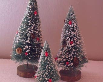 Trio of Vintage Bottle Brush Trees Flocked with Mini Pinecones Red Berries