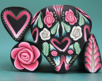 Set of 4 Polymer Clay Canes -'Intricacies of the Heart' (44E)