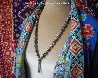 Kadija necklace. Intricate unusual beads Turklish sterling tassel classic Middle Eastern beauty