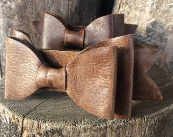 """Distressed Medium Brown Leather Bow Cuff size 7.5"""" by Stacy Leigh"""
