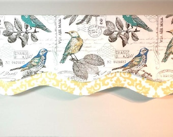 Layered Scalloped Valance- Lined Window Valance - Window Treatment - Bird Fabric - Yellow - Green - Kitchen - Bedroom - Bathroom