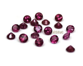 2.5mm Rhodolite Garnet Faceted Round - 5 pieces