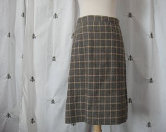 Vintage Plaid Skirt, by Gala Forest, Made in Scotland, Blue, Taupe, Ivory, Lined Wool Skirt, Size Small