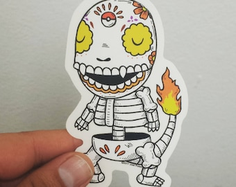 Charmander Calavera Clear Die-cut Vinyl Sticker Day of the Dead
