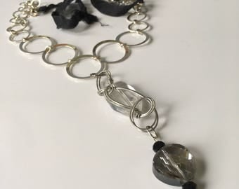 Handmade Mixed Media Necklace in Crystal, Metal & Silk