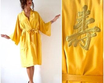 FLASH SALE / 20% off Vintage 70s 80s Golden Yellow Kimono Dressing Robe