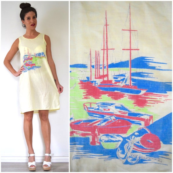 Vintage 70s 80s Fisherman's Wharf Butter Yellow Cotton Voile Graphic Screen Printed Dress