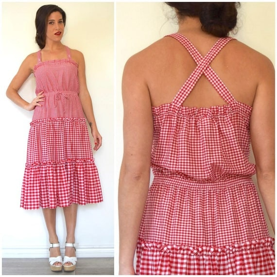 Vintage 60s 70s Red and White Gingham Sundress (size small, medium)