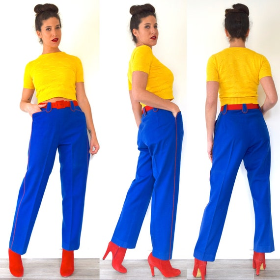 SUMMER SALE/ 30% off Vintage 50s 60s Royal Blue High Waisted Felt Marching Band Trousers with Red Piping (size medium)
