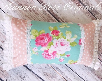 Vintage chenille country roses throw pillow shabby chic farmhouse decor