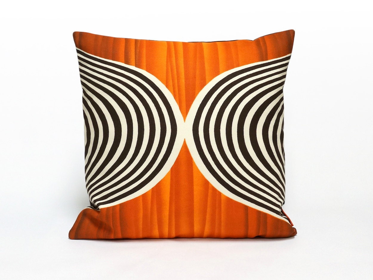 Orange Mid Century Pillows : Orange Mid Century Throw Pillow cushion cover op art decor