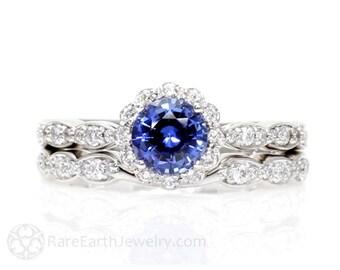 Blue Sapphire Engagement Ring Wedding Set Diamond Halo Sapphire Ring 14K or 18K Gold Platinum Custom Bridal Set