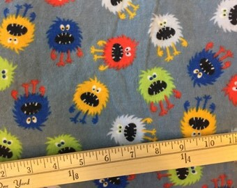"""Destash Fabric grey flannel with colorful monsters 4 yards at 41"""" wide, pre-washed"""