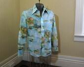 Peaceful Harbor Chemise Et Cie Shirt 70s disco shirt  Vintage Sailboats shirt Marina sailing  Shirt 70s vintage polyester print shirt M