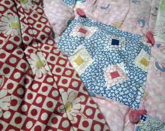 Vintage 30s Quilt Patchwork handsewn quilt Flour Sack Vintage Cottage Quilt pink 30s Patchwork gooney birds Blue floral Calico quilt Double