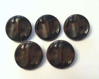 Vintage Buttons - Celluloid Shank Back Accent Buttons - Set of 5 Black and Brown Marbled - Perfect for Hand Knits and Home Decor