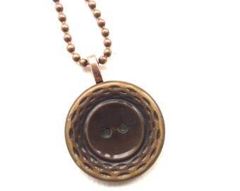 Brown Vintage Button Pendant Necklace