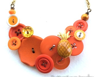 Funky Pineapple Bright Orange Button Necklace