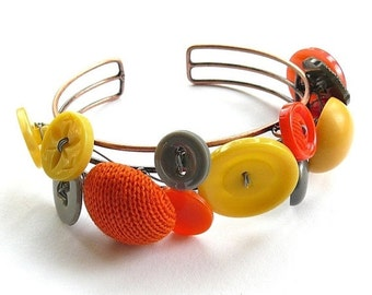 On Sale Orange Yellow and Gray Button Jewelry Cuff Bracelet