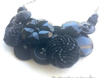 Fancy Black Vintage Button Chunky Statement Bib Necklace
