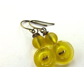Spring Sale Shiny Yellow Earrings from repurposed Vintage Buttons
