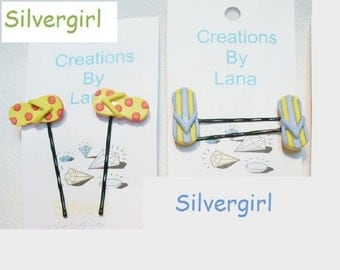 FUN Hand Created Bobby Pins CHOOSE COLOR Flip Flops