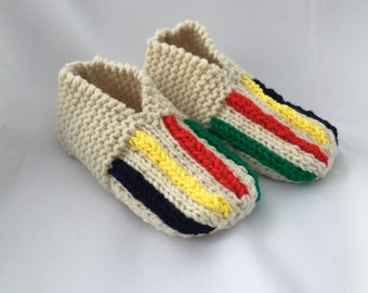 Striped Slippers Adult Slippers Knitted Slippers