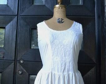 SALE- vintage white embroidered dress-open back dress lace -summer cotton dress