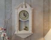 Wall clock, Shabby Chic Pendulum Wall Clock, Quartz movement, Shabby Chic, Take time for the little things face