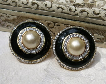 SALE, CAROLEE Vintage Earrings ... Clear Rhinestones, Faux Pearl & Black Enamel Clip-On Earrings, Costume Jewelry