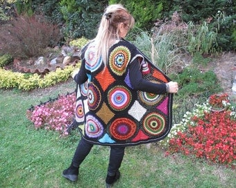 Crochet  Multicolored vest,  Boho  Crochet vest, colorful crochet motifs