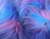Pastel Puff - quality pink blue and purple long pile fluffy synthetic fur fabric  - Long HALF