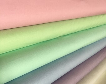 Kona Solid Bundle in PASTEL, Includes *Petal, Mint, Ice Frappe, Blue Bell, Lilac, Shadow* Bundle of 6, Choose the Cuts