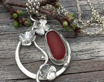 Ruby red Sea Glass and Sterling Silver Blossom Necklace