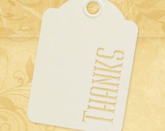 Graphic 45 Staples Tags : Ivory Thanks Tags, ATC size, set of ten