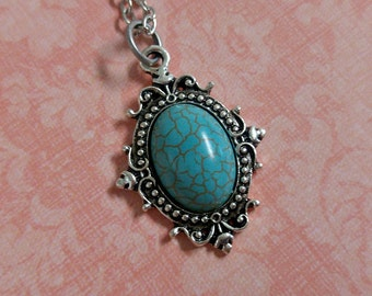 Faux Turquoise Cameo Pendant Necklace