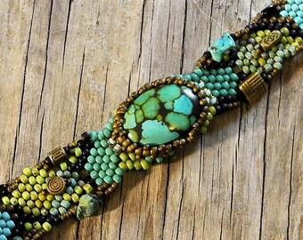 Free Form Peyote Stitch Beaded Bracelet Beaded Cuff - Beaded Cabochon - Bead Weaving  - TURQUOISE BOHO