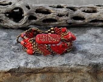 Jewelry - Free Form Peyote Stitch Beaded Bracelet  - Bead Weaving - BOHO