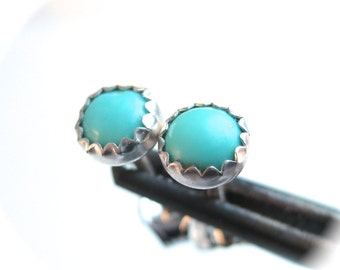 Small Turquoise Earrings Studs 4mm Round Gemstone